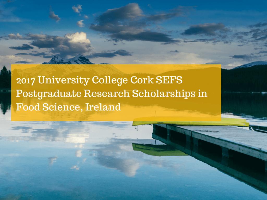 2017 University College Cork SEFS Postgraduate Research Scholarships in Food Science Ireland