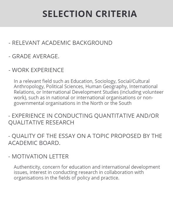 Selection criteria41